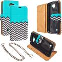 LG Spree Optimus Zone 3 VS425 K4 Mint Green Zebra Design Wallet Flip Pouch Case Cover with Credit Card ID Slots Angle 1