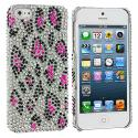 Apple iPhone 5/5S/SE Hot Pink Leopard Bling Rhinestone Case Cover Angle 1