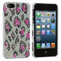 Apple iPhone 5/5S/SE Hot Pink Leopard Bling Rhinestone Case Cover Angle 2