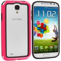 Samsung Galaxy S4 Black / Pink TPU Bumper Angle 2