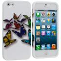 Apple iPhone 5/5S/SE Blue Colorful Butterfly TPU Design Soft Case Cover Angle 1