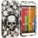 Motorola Moto G Black White Skulls 2D Hard Rubberized Design Case Cover Angle 1