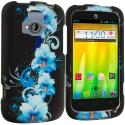 ZTE Radiant Blue Flowers 2D Hard Rubberized Design Case Cover Angle 1