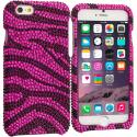Apple iPhone 6 6S (4.7) Hot Pink Zebra Bling Rhinestone Case Cover Angle 1