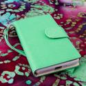 LG Splendor / Venice US730 - Mint / White MPERO FLEX FLIP Wallet Case Cover Angle 2