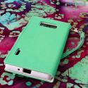 LG Splendor / Venice US730 - Mint / White MPERO FLEX FLIP Wallet Case Cover Angle 3