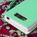 LG Splendor / Venice US730 - Mint / White MPERO FLEX FLIP Wallet Case Cover Angle 7