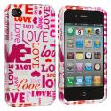 Apple iPhone 4 / 4S Lots of Love Design Crystal Hard Case Cover Angle 1