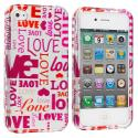 Apple iPhone 4 / 4S Lots of Love Design Crystal Hard Case Cover Angle 2