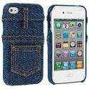Apple iPhone 4 / 4S Blue Jeans Design Crystal Hard Case Cover Angle 1