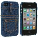 Apple iPhone 4 / 4S Blue Jeans Design Crystal Hard Case Cover Angle 2