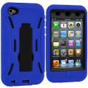 Apple iPod Touch 4th Generation Blue / Black Hybrid Heavy Duty Hard/Soft Case Cover with Stand Angle 3