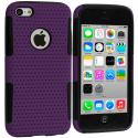 Apple iPhone 5C Black / Purple Hybrid Mesh Hard/Soft Case Cover Angle 1