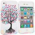 Apple iPhone 4 / 4S Love Tree on White Hard Rubberized Design Case Cover Angle 1