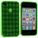 Apple iPhone 4 / 4S Green Checkered TPU Rubber Skin Case Cover Angle 1