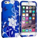 Apple iPhone 6 Plus 6S Plus (5.5) Blue White Flower Butterfly 2D Hard Rubberized Design Case Cover Angle 1