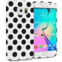 Samsung Galaxy S6 Edge Black / White TPU Polka Dot Skin Case Cover Angle 1