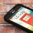 LG Optimus L70 - Black MPERO IMPACT XT - Kickstand Case Cover Angle 6