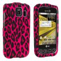 LG Optimus S LS670 / U / V Hot Pink Leopard Hard Rubberized Design Case Cover Angle 1