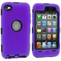 Apple iPod Touch 4th Generation Purple Deluxe Hybrid Deluxe Hard/Soft Case Cover Angle 1