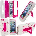 Apple iPhone 5/5S/SE White / Hot Pink Hybrid Heavy Duty Hard/Soft Case Cover with Stand Angle 1