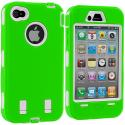 Apple iPhone 4 / 4S Neon Green / White + Protector Hybrid Deluxe Hard/Soft Case Cover Angle 3