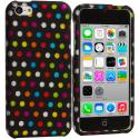 Apple iPhone 5C Colorful dots on Black Hard Rubberized Design Case Cover Angle 1