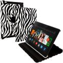 Amazon Kindle Fire HDX 8.9 Black White Zebra 360 Rotating Leather Pouch Case Cover Stand Angle 1