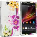 Sony Xperia Z Purple Flower Chain 2D Hard Rubberized Design Case Cover Angle 1