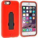 Apple iPhone 6 6S (4.7) Orange / Black Hybrid Heavy Duty Hard/Soft Case Cover with Stand Angle 2
