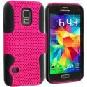 Samsung Galaxy S5 Mini G800 Black / Hot Pink Hybrid Mesh Hard/Soft Case Cover Angle 1