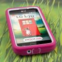 LG Optimus L70 - Hot Pink MPERO IMPACT X - Kickstand Case Cover Angle 2