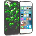 Apple iPhone 5/5S/SE Green Skulls TPU Design Soft Rubber Case Cover Angle 1