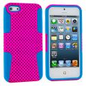 Apple iPhone 5/5S/SE Baby Blue / Hot Pink Hybrid Mesh Hard/Soft Case Cover Angle 1
