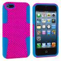 Apple iPhone 5/5S/SE Baby Blue / Hot Pink Hybrid Mesh Hard/Soft Case Cover Angle 2