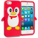 Apple iPhone 5/5S/SE Red Penguin Silicone Design Soft Skin Case Cover Angle 1