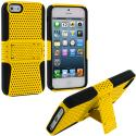 Apple iPhone 5 Black / Yellow Hybrid Mesh Hard/Soft Case Cover with Stand Angle 1