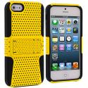 Apple iPhone 5 Black / Yellow Hybrid Mesh Hard/Soft Case Cover with Stand Angle 2