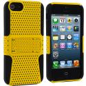 Apple iPhone 5 Black / Yellow Hybrid Mesh Hard/Soft Case Cover with Stand Angle 3