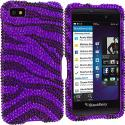 BlackBerry Z10 Black / Purple Zebra Bling Rhinestone Case Cover Angle 1