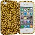 Apple iPhone 4 / 4S Yellow Leopard TPU Design Soft Case Cover Angle 1