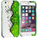 Apple iPhone 6 6S (4.7) Green / White Swirl 2D Hard Rubberized Design Case Cover Angle 1
