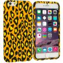 Apple iPhone 6 Plus 6S Plus (5.5) Black Leopard on Golden TPU Design Soft Rubber Case Cover Angle 1