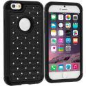 Apple iPhone 6 Plus 6S Plus (5.5) Black Hard Rubberized Diamond Case Cover Angle 1