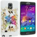 Samsung Galaxy Note 4 Colorful Butterfly TPU Design Soft Rubber Case Cover Angle 1