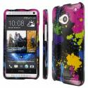 HTC One - Black Paint Splatter MPERO SNAPZ - Glossy Case Cover Angle 1