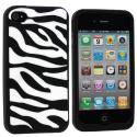 Apple iPhone 4 / 4S Black White Zebra Silicone Design Soft Skin Case Cover Angle 1