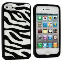Apple iPhone 4 / 4S Black White Zebra Silicone Design Soft Skin Case Cover Angle 2