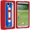 Samsung Galaxy S4 Red Cassette Silicone Soft Skin Case Cover Angle 1