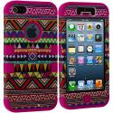 Apple iPhone 5/5S/SE Hot Pink Tribal Hybrid Tuff Hard/Soft 3-Piece Case Cover Angle 2